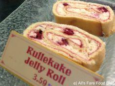 Rullekake $3.59 - Yellow cake layerd with fresh raspberry filling and powdered sugar