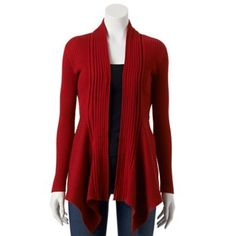 I love the feel of this sweater. It is one of my favorites. I have the tan/oatmeal colored one.  Dana Buchman Ribbed Open-Front Cardigan - Women's