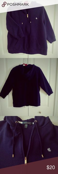 """🐦Navy Ralph Lauren Hoodie🐦 """"I've always done the style that I loved, so I didn't mind sending an old pair of jeans down the runway.""""-- Ralph Lauren  Understated hoodie with 3/4 length sleeve. Two front pockets. 23"""" across bust x 23"""" long and 17"""" sleeve. Rarely worn. Washes up like a dream. This says 1X however my opinion is it fits more like a Large. No rips, stains, tears or snags. Ralph Lauren Jackets & Coats"""