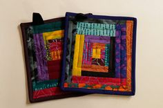 Funky Modern Quilted Pot Holders  Set of Two  by MyBitOfWonder