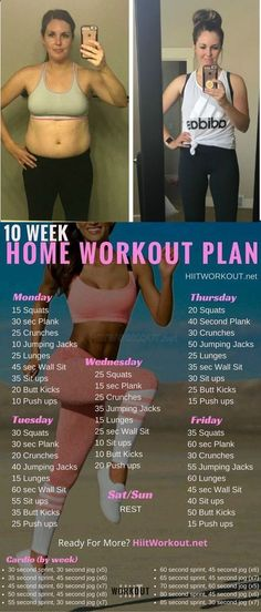 10 WEEK NO-GYM HOME WORKOUT PLANS You should repeat this circuit 2 times if you are a beginner. For advanced people 5 times are enough with rest for 60 seconds between the sets. diy speiseplan The 10 Week No-Gym Home Workout Plans Fitness Workouts, Yoga Fitness, Fitness Tips, Health Fitness, Health Diet, Ab Workouts, Planet Fitness, Bikini Fitness, Nutrition Diet