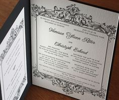 Baroque style bilingual wedding invitation would be perfect for a gothic or Halloween themed wedding.