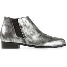 Giuseppe Zanotti Design Metallic Ankle Boots (€375) ❤ liked on Polyvore featuring shoes, boots, ankle booties, block heel booties, giuseppe zanotti boots, side zip boots, low booties and pointy toe ankle boots
