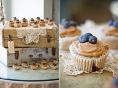 Love these rustic muffin cupcakes! Sounds so yummy, plus I love the tan and blue to go with my colors.  Beautiful set up as well.