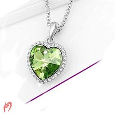 Titanic Heart of Ocean Crystal Necklace - Green