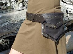Utility Belt Leather Steampunk Belt Bag with pockets in Brown. $93.00, via Etsy.