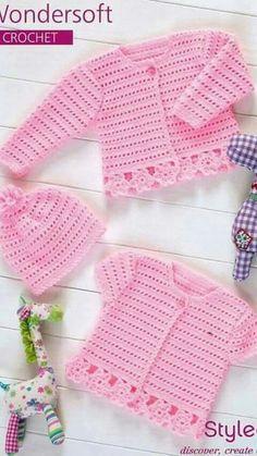 Crochet Cardigans & Hat in Stylecraft Wondersoft 4 ply - Pattern for p., Crochet Cardigans & Hat in Stylecraft Wondersoft 4 ply - Pattern for purchase. Cardigan Au Crochet, Cardigan Bebe, Crochet Baby Sweaters, Crochet Baby Clothes, Baby Knitting Patterns, Baby Patterns, Crochet Patterns, Hand Knitting, Bonnet Crochet
