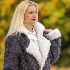 Thick and fuzzy 100% Hand knitted mohair greatcoat in cables pattern, size S, M, L, XL