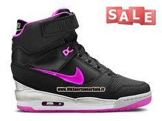 Nike Wmns Air Revolution Sky Hi (Nike iD) - Chaussure Montante Nike Pas Cher Pour Femme Noir/Rose framboise/Argent métallique 599410-902