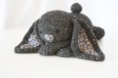 Hand Knit Bunny Rabbit  Grey Tweed Pink Collectible Children's Toy Alpaca Stuffed Plush on Etsy, $52.00