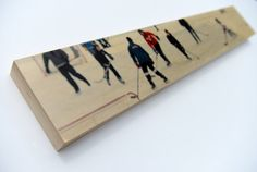 Pond Hockey Image Transfer 6x36 on Wood Panel by by PatrickLajoie, $235.00