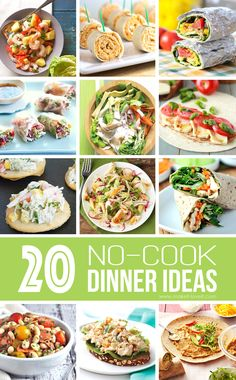 20 NO-COOK Dinner Ideas.great for those hot summer months! Slow Cooker Recipes, Cooking Recipes, Healthy Recipes, Raw Recipes, Slow Cooking, Crockpot Meals, Potato Recipes, Healthy Meals, Cooking Tips