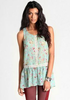 Beatrice High-Low Floral Blouse 34.00 at threadsence.com