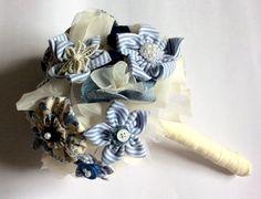 Blue wedding bouquet of handmade fabric by BlueLilyMagnolia