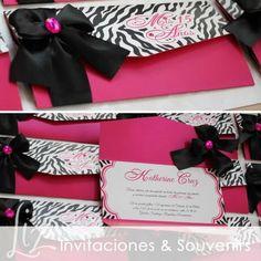 Zebra Print para los Quince Años de Katherine ♥ / invitations / Invitaciones / tarjeteria / fucsia / animal print / handmade / hechoamano / birthday party / birthday cards / cumpleaños / Quinceañera