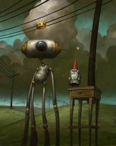 these robot paintings scattered with symbols by artist Brian Despain. Matt Dixon, Robot Painting, Funny Gnomes, Robot Illustration, Book Illustrations, Arte Robot, Unusual Art, Pop Surrealism, Retro Futurism