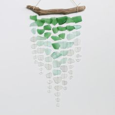 Sea Glass & Driftwood Mobile  Ombre by TheRubbishRevival on Etsy, $76.00