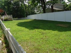 Why choose one style when you can have two? Pictured here is two different styles of vinyl fencing.