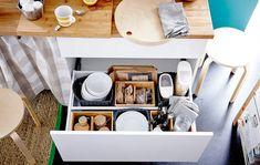 The ultimate back-to-school kitchen - IKEA Kitchen Pantry Cabinets, Kitchen Drawer Organization, Kitchen Drawers, Kitchen Storage, Home Organization, Storage Spaces, Kitchen Decor, Kitchen Design, Best Home Interior Design