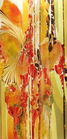 Red & Yellow Acrylic Painting on Wood Katrina Schaman