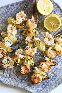 Grilled Shrimp Scampi Skewers Shared on http://www.facebook.com/LowCarbZen