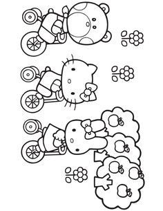 Hello Kitty Biking With Friends Coloring Pages Printable And Book To Print For Free Find More Online Kids Adults Of