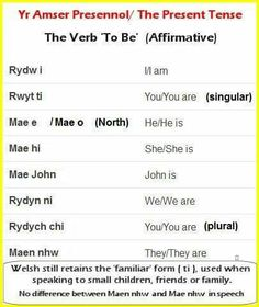 """Conjugation of verb """"to be"""" Wales Language, Learn Welsh, Welsh Recipes, Cymru, Lineage, England And Scotland, Good Communication, Home Schooling, My Heritage"""