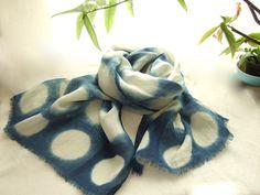 French linen scarf big polka dots long wrap by dyeing2meetU