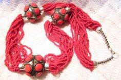Red Seed Beaded Necklace by ViksVintageJewelry on Etsy