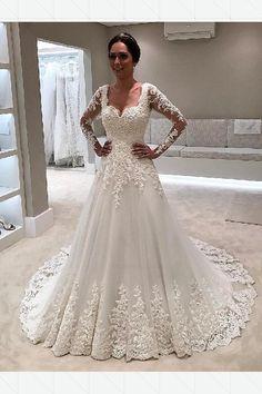 a84d095a76fe70 Cheap Dazzling Lace White Wedding Dresses, Lace Wedding Dresses, Long  Sleeves Wedding Dresses, 2019 Wedding Dresses. Весільні Сукні ...