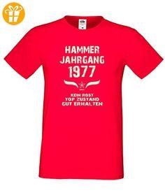 Geburtstags Fun T-Shirt Jubiläums-Geschenk zum 40. Geburtstag Hammer Jahrgang 1977 in rot auch in Übergrößen 3XL, 4XL, 5XL (*Partner-Link)
