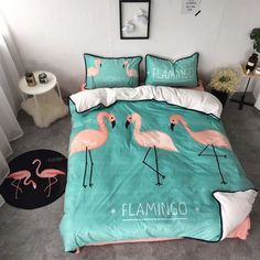 100% Flannel Flamingo Printing Bed Sheet Bedding Set - Buy Flamingo Printing Bed Sheet,Flannel Bedding Set,Modern Bed Sheet Sets Product on Alibaba.com