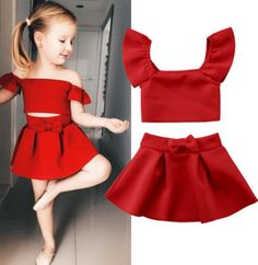 Stylish Kids Baby Girl Clothes Set Solid Color Off Shoulder Tank Tops High Waist Red Bow Skirt Party Outfits Summer Suit Red Skirt Outfits, Red Skirts, Girl Outfits, Party Outfits, Bow Skirt, Baby Girls, Girl Sleeves, Summer Suits, Outfit Summer