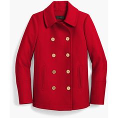 J.Crew The 2008 Andover Peacoat (17.875 RUB) ❤ liked on Polyvore featuring outerwear, coats, peacoat coat, red pea coat, j crew peacoat, red peacoat and leather-sleeve coats