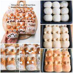 Totoro Pull-Apart Bread Buns                                                                                                                                                     More Cute Food, Good Food, Yummy Food, Kawaii Cooking, Japanese Bread, Cute Baking, Bread Shaping, Bread Art, Kawaii Dessert