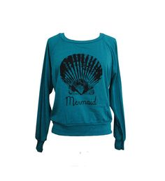 Mermaid Sweater - Seashell American Apparel Raglan Pullover Sweater - (Available in sizes S, M, L) on Etsy, $25.00
