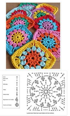 Easy to make crochet granny square pattern. Free crochet chart by Color'n creamColor 'n Cream Crochet and Dream: New Flower Squarecrochê passo a passo ( Crochet Motif Patterns, Crochet Blocks, Granny Square Crochet Pattern, Crochet Mandala, Crochet Diagram, Crochet Chart, Crochet Squares, Crochet Designs, Knitting Patterns