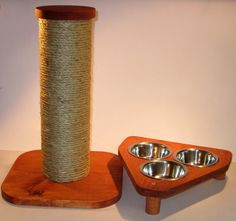"TRI 3 bowl pet feeding station  	Solid wood construction  	3 Removable 3 1/2 "" Stainless steel food bowls  	non marking feet  	11 3/4"" Long X 11"" wide  	15"" sisal rope cat scratching post  	Strong but lightweight (to minimize shipping costs) construction.  	Removable wood cap so you can add rocks, sand or any heavy material (do not use water) for extra stability.  	​ Ships in 2 parts all you need is a Phillips screwdriver to tighten the 4 x ¼ inch bolts.  	The Sisal rope is tightly wound…"