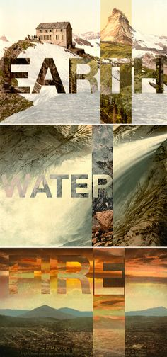 earth water fire, typography, photo, type masks