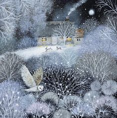 "I love this charming ""Winter Garden"" illustration by Lucy Grossmith , a Suffolk UK based artist and illustrator. Art And Illustration, Fantasy Kunst, Fantasy Art, Art Fantaisiste, Original Paintings For Sale, Inspiration Art, Garden Inspiration, Wow Art, Winter Art"