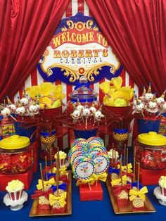 Red, blue and yellow carnival birthday party! See more party ideas at CatchMyParty.com!