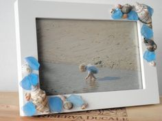 Beach Photo Frame With Seashells And Aqua by AngelsNEverlastings, $20.00