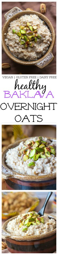 Healthy Baklava Overnight Oats- Dessert for breakfast is going to be a standard occurrence with this delicious Baklava inspired overnight oats! Gluten Free Dairy Free and vegan! Gluten Free Breakfasts, Healthy Breakfast Recipes, Brunch Recipes, Vegan Recipes, Cooking Recipes, Vegan Foods, Vegan Vegetarian, Breakfast And Brunch, Oatmeal Recipes