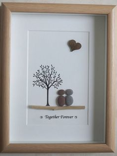 Pebble Art framed Picture Together Forever