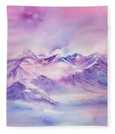 Swiss Mountains Fleece Blanket featuring the painting Swiss Mountains early morning by Sabina Von Arx Blankets For Sale, Soft Blankets, Fleece Blankets, Master Suite, Pottery Barn, Bed Linen Inspiration, Red Sheets, Pink Mountains