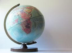 Vintage 1950s World Earth Globe - 12 Inch Replogle Stereo Relief Globe - School Teaching Education Tool - Mid Century Home Library Decor - pinned by pin4etsy.com