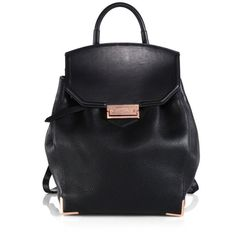 Alexander Wang Prisma Skeletal Pebbed Leather Backpack (€950) ❤ liked on Polyvore featuring bags, backpacks, black, day pack backpack, genuine leather bags, alexander wang, leather rucksack and shoulder strap bags