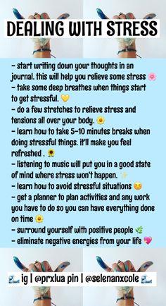- dealing with stress Girl Advice, Girl Tips, Girl Life Hacks, Girls Life, Hoe Tips, Glow Up Tips, Baddie Tips, Dealing With Stress, Self Care Routine