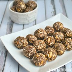 Dark Chocolate Peanut Butter Protein Bites with Toasted Quinoa