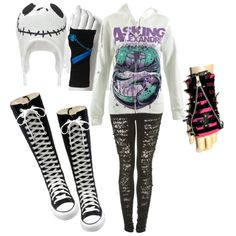 """EMO <3"" by emogirl483 on Polyvorethose gloves tho!!<i would wear an A Day To Remember hoodie, but thats me."